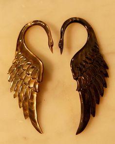 Swan Ear Plug 8 Gauge. $60.00, via Etsy.