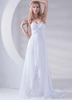 White A-line Sweetheart Applique Bridal Wedding Gown - Milanoo.com