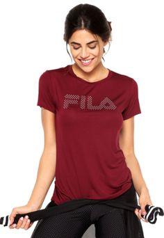 Camiseta Fila Charlotte Letter Vinho - Compre Agora | Dafiti Brasil