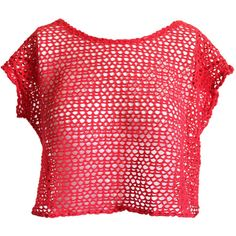 Crotchet Crop Top Sheer Red Knit Net Mesh Slouchy Boxy Shirt Boho 90's... ($21) ❤ liked on Polyvore featuring tops, bohemian tops, crop top, knit crop top, sheer top and net crop top