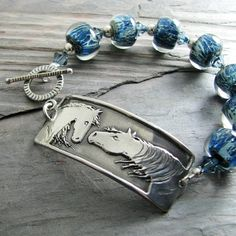 Artisan Horse Jewelry, Reaching Out No. 2, Handmade PMC Horse Link with Artisan Boro Glass Bead Bracelet----would love to try working in PMC....someday......