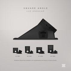 Parte da família Square, da Stella, o embutido de teto Square Angle possui modelos para lâmpadas MR11 e MR16. O design possibilita que suas versões projetem o facho de luz nos ângulos de 25º e 40º, resultando em quatro versões. Com bordas sutis, o resultado de sua aplicação é um produto discreto no teto. Ele ilumina de forma direcionada e intensa, para destacar objetos decorativos e criar efeitos de luz. Architecture, Design, Built Ins, Ceiling, Line, Shape, Templates, Spotlight, Arquitetura