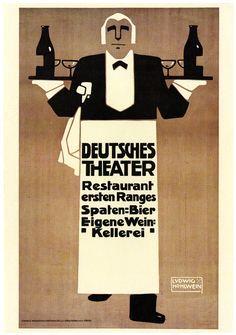 Ludwig Hohlwein, Deutsches Theater, c.1907 Vintage Advertisements, Vintage Ads, Vintage Posters, Restaurant Vintage, Restaurant Signs, Graphic Illustration, Graphic Art, Art Nouveau, Art Deco