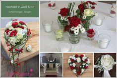 Hochzeit mit Brautstrauß und Tischdeko in rot weiß