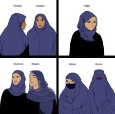 Differences among women's head coverings (see also: http://www.bbc.co.uk/newsround/24118241)