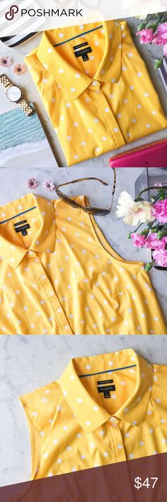 """Talbots Yellow Polka Dot Sleeveless Button Down Talbots Yellow Polka Dot Sleeveless Button Down  Classic silhouette woven of wrinkle-resistant cotton. Perfect layering piece, travel friendly, & comfy! Pair with crop pants & some poppin' statement earrings for a modern, feminine look, or layer under a cardigan/blazer for a sleek, professional vibe.   ▪️Freshwater Pearl Buttons ▪️Non-Iron Fabric ▪️Worn a few times -great condition!  Approx. Measurements: ▪️Bust: 20"""" ▪️Length: 26"""" ▪️Check out…"""