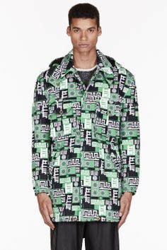 Versus Green Signature Print Hooded M.i.a Edition Trench Coat