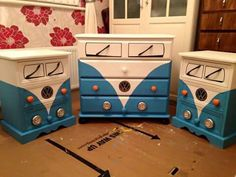 Repaint old drawers/ replace handles... to make a ciil camper van theme
