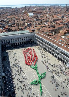 "Over one thousand residents of Venice participate in composing this living rosebud in St. Mark square in Venice, on occasion of the ""Festa del Bocolo,"" a tradition dating back to the Middle Age, Friday, April 25, 2014. On this day, which is also the day when St. Mark, patron saint of Venice, is celebrated, men traditionally give a rosebud to the women of their family and to their loved one."