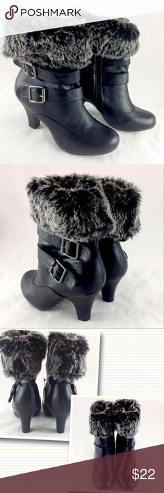"""Rue 21 Black Fur Booties Brand new with tags! NWT. Rue 21 Faux leather and fur cuffed booties. Super cute with leggings! Black  upper and heel with salt & pepper fur cuff. Double buckle detailing. Inner zipper for easy on and off.  3"""" heel.  Size M 7/8.  I am a size 7.5 and they fit me perfectly.           Please ask all your questions before you purchase! I am happy to help! Sorry, no trades or holds. Please, no lowball offers Please use Offer Button! Happy Poshing! Rue 21 Shoes Ankle Boots…"""