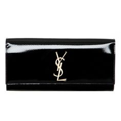 Saint Laurent Monogramme Patent Leather Clutch ($1,100) ❤ liked on Polyvore featuring bags, handbags, clutches, purses, bolsas, accessories, patent leather handbags, patent leather purse, yves saint laurent purses and patent leather clutches