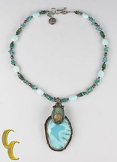 Gorgeous Turquoise Virgin Mary Sweet Bird Pendant Necklace Nice Vtg Condition!