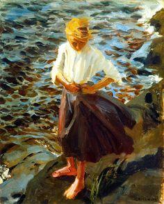 """Windswept Girl"" Akseli Gallen-Kallela (Pori, † w Finnish painter. Teacher of Hugo Simberg, also an important Finnish symbolist. Nordic Art, Scandinavian Art, Art And Illustration, Illustrations, Paintings I Love, Art Paintings, Helene Schjerfbeck, Merian, Beach Art"