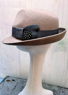 Alabaster trilby with grey trim and guniea fowl - looks great worn casually...  fifilabelle