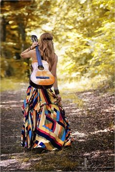 guitar and maxi dress - boho, hippy