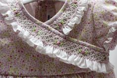 I like this as it's unusual to have smocking used around the neck. Sewing Doll Clothes, Sewing Dolls, Punto Smok, Girls Smocked Dresses, Smocking Patterns, Heirloom Sewing, Smock Dress, Funny Art, Sewing Hacks