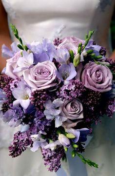 Purple Roses, Sweet Pea, Freesia and Lilac