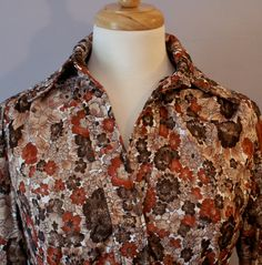 1970's Blouse / Rust and Brown Floral by DuncanLovesTess on Etsy, $22.00