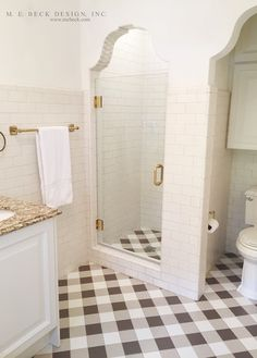 Shower | Hardware, Glassdoor, Tile all the way up to ceiling, Lowered ceiling detail near door.