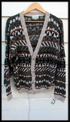 Mens vintage clothing 1980s Cardigan ski sweater size L made in USA. via Etsy.