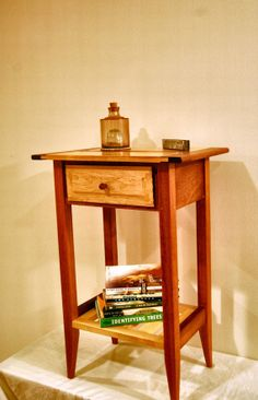 Shaker Style Mahogany And Maple Nightstand With Drawer And Shelf by Jason Knies Coffee Table With Drawers, End Tables With Storage, Small Tables, Woodworking Square, Woodworking Desk Plans, Woodworking Forum, Shaker Furniture, Table Furniture, Custom Made Furniture