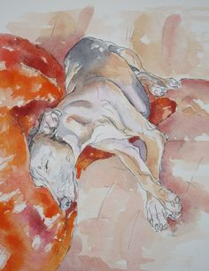 Dogs in Art at the StockBridge Gallery - Card by Fiona Thomson - The Tangerine Blanket, £2.95 (http://www.dogsinart.com/card-by-fiona-thomson-the-tangerine-blanket/)