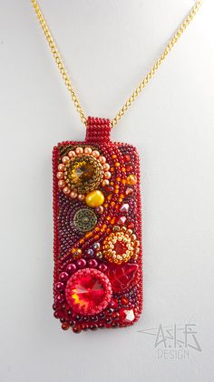 Pendant: Ember Sprite by annafjellborg on DeviantArt Pendant: Ember Sprite by annafjellborg on DeviantArt Bead Embroidery Jewelry, Fabric Jewelry, Beaded Embroidery, Beaded Jewelry, Beaded Brooch, Czech Glass Beads, Jewellery Display, Bead Weaving, Handcrafted Jewelry