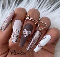 Cute Acrylic Nail Designs, Best Acrylic Nails, Elegant Nail Designs, Creative Nail Designs, Gel Designs, Bling Nails, Swag Nails, Stylish Nails, Trendy Nails