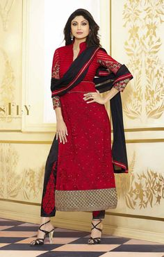 #bollywood Red Color #Partywear Salwar Suit