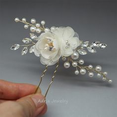 Gold Bridal Headpieces Silk Flowers Hair Clips от adriajewelry