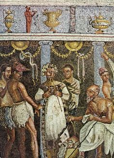 """""""Rehearsal of a Satyr Play,"""" Mosaic from the Tablinum, House of the Tragic Poet, in situ in Pompeii."""