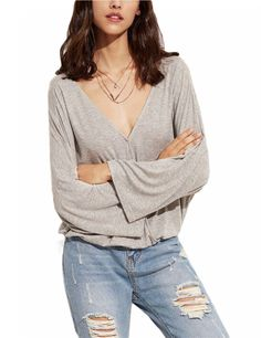 Women's Stylish V Neck Bat-wing Long Sleeve Solid Color Loose All-match Tops Blouse - Yesfashion.com in Free Shipping
