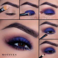 We adore navy take on the traditional smoky eye 💨. Get the loo - Makeup Tutorial For Teens Navy Eye Makeup, Makeup Eye Looks, Eye Makeup Steps, Smokey Eye Makeup, Glam Makeup, Makeup Inspo, Eyeshadow Makeup, Smoky Eye, Makeup 101