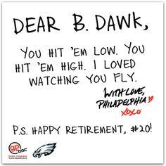 The @Philadelphia Eagles are retiring Brian Dawkins' #20!