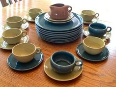 My collection of Russell Wright dinnerware in sea foam blue, chartreuse & one piece of nutmeg