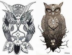 Desenhos de corujas preto e branco
