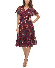 Calvin Klein Floral-Print Chiffon Flutter-Sleeve Dress macys - Google Search