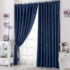 Curtain for 100% Blackout  Cortinas Para Sala For Living Room Flat Window Curtains Drape RideauFinished Product Navy Blue 1 pcs