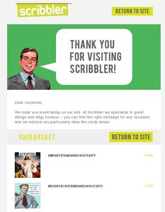 Basket abandonment email marketing example from Scribbler