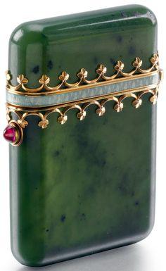 Fabergé - Etui de Poche - Néphrite, Or, Rubis et Email - 1899-1908