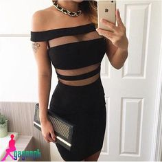 2016 Fashion hot-selling Gagaopt slit neckline stripe of perspectivity slim hip…