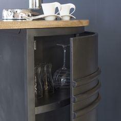 Ilot central métal gris et plateau bois Luminaire Suspension Design, Tableware, Kitchen, Grey, Furniture, Dinnerware, Cuisine, Dishes, Kitchens