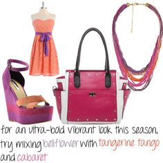 pairing brights like Tangerine Tango, with a rich purple like Bellflower along side another hot bright color like Cabaret is a great way to dress trendy this season!