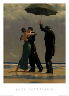 Jack Vettriano, OBE is a Scottish painter. His 1992 painting, The Singing Butler, became a best-selling image in Britain. For biographical notes -in english and italian- and other works by Vettriano see: Jack Vettriano, 1951 Jack Vettriano, Rain Dance, Dancing In The Rain, Illustration Mode, Illustrations, The Singing Butler, Wall Art Prints, Poster Prints, Posters Vintage