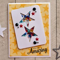 You Are Amazing Shaker Card - Scrapbook.com - Fun shaker element filled with sequins.