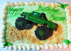 Monster truck cake - royal icing