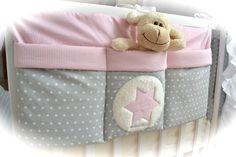 grosse Bett Tasche, Utensilo, hellgrau-rosa von Elfen-Kinder auf DaWanda.com