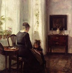 Carl Vilhelm Holsoe (Danish artist, 1863-1935) Mother and Child by a Window