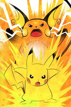 Pikachu and Richu evolution artwork