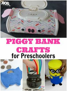 Adorable Piggy Bank Crafts for Preschool Money Crafts For Preschoolers, Easy Preschool Crafts, Pig Crafts, Toddler Preschool, Toddler Crafts, Preschool Activities, Summer Camp Crafts, Camping Crafts, Piggy Bank Craft